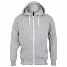 PLAIN GREY COTTON ZIP UP HOODY Mens S-8XL Soft flannel inner Gents gym hoodie