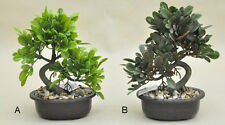 Bonsai Tree in Oval Pot, Artificial Plant Decoration for Office and Home 24 cm
