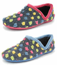 Womens Ladies Fur Knitted Polka Dot Shoe Slippers Sleepers Pink Blue Size 3-8