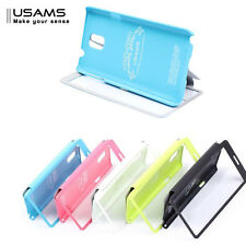 5 Colores USAMS Tacto Cuero Funda Libro Base para Samsung Galaxy Note 3 N9000