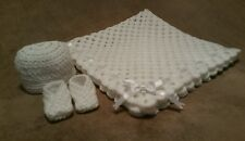 BN Hand Crocheted/Knit Baby Blanket/Shawl Hat & Booties Set CHOOSE WHAT YOU WANT