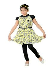 KC Dolphin Yellow Georgette Frock And Legging Set For Girls