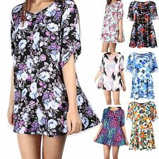 Womens Ladies Floral  Short Turn Up Sleeve Flared Tunic Swing Dress Plus Size