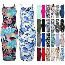 Womens Ladies Floral High Neck Summer Strappy Cami Bodycon Midi Dress Plus Size