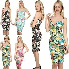Womens Ladies Floral Print Strappy Cami Plunge V Neck Bralet Bodycon Midi Dress