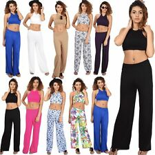 Womens Ladies Halter Neck Crop Top Wide Leg Palazzo Trousers CoOrd Set Two Piece