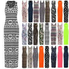 Womens Ladies Muscle Racer Back Printed Stretchy Jersey Long Vest Maxi Plus Size