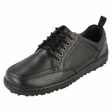 """MENS HUSH PUPPIES BLACK LEATHER LACE-UP SHOES """"BELFAST OXFORD""""/H103360"""
