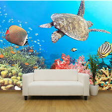 Mar Tropical Escena sea Turtle papel pintado mural diseño wm075