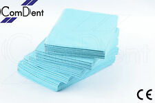 2 Ply Dental Dentist Disposable Bibs Waterproof Blue Bibs  + Free Napkin Holder