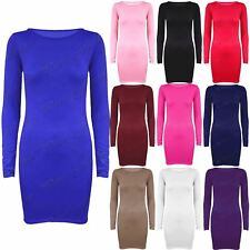 Womens Plain Basic Stretchy Long Sleeves Jersey Bodycon Ladies Dress Long Top