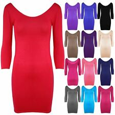 Womens Stretchy 3/4 Sleeves Scoop Neck Plain Bodycon Ladies Party Mini Dress Top