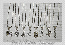 Cowboy / Set of 8 / Silver Charm Necklaces / Personalize-Birthstone,Initial