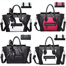 Ladies Designer PU Leather Tote Satchel Smile Skull Scarf Bag Handbag Purse
