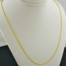 14K YELLOW GOLD 1.0MM ROUND CABLE LINK PENDANT CHAIN NECKLACE