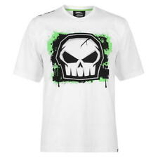 MENS WHITE NO FEAR SKULL GLOW IN THE DARK LOGO MOTO CROSS TEE SHIRT T-SHIRT TOP