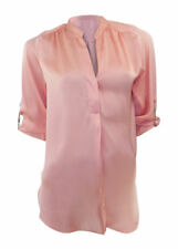 Dorothy Perkins peachy coral silky collarless shirt with tabbed back sleeves.
