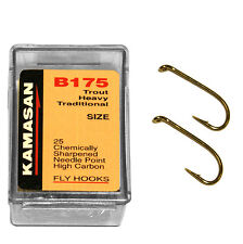KAMASAN CHEMICALLY SHARPENED NEEDLE POINT FLY FISHING TROUT HOOKS 6-14 B175 25PC
