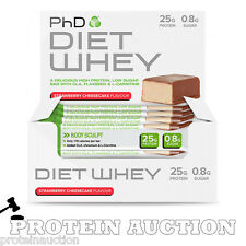 PhD Diet Whey Protein Bar 12 X 50g Low Carb Bars Short Date BBE March 2017 Sale