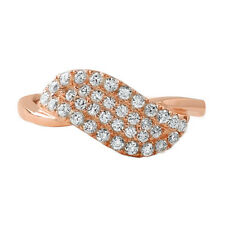 Rose Gold Angel Wing Christ CZ Womens Fashion Ring