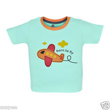 Tickling Baby Boys Casual Printed Cotton Round Neck Sky Blue Color T-Shirt