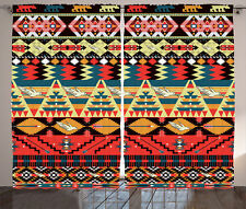 Traditional Aztec Pattern with Bird Flower Arrow Art Image Curtain 2 Panels Set
