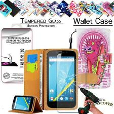 Leather Wallet Case +Tempered Glass Screen Protector For Elephone Mobile