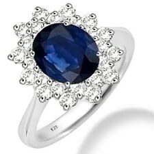 Silver Dew 925 Sterling Silver  Halo Blue sapphire CZ Ring