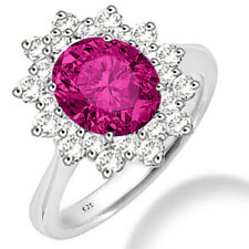 Silver Dew 925 Sterling Silver  Halo Dark Pink CZ Ring
