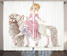 A Little Princess on White Horse with Long Mane Girl Decor Curtain 2 Panels Set