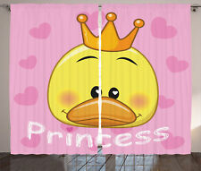 Little Princess Duck Tiaras and Hearts Girls Decor Print Curtain 2 Panels Set