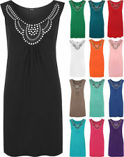 New Womens Sleeveless Long Stud Ladies Plus Size Stretch Scoop Neck Top