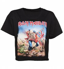 Women's Black Iron Maiden Trooper Slouchy Cropped T-Shirt