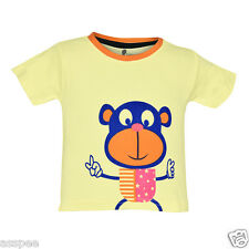 Tickling Baby Boys Casual Printed Cotton Half Sleeves Cream Color T-Shirt