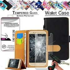 Leather Wallet Case+Tempered Glass Screen Protector For Huawei Honor Phones