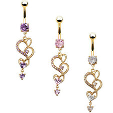 New Body Piercing Gold Navel Rings Heart Crystal Clear Dangle Belly Button Ring
