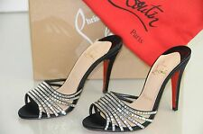 $1230  New Christian Louboutin DESIR STRASS Crystal Mules Sandals Shoes 37 37.5