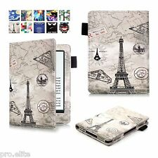 "Designer Book Case Cover For Amazon Kindle E Reader 6"" 8th Generation 2016 Eifel"