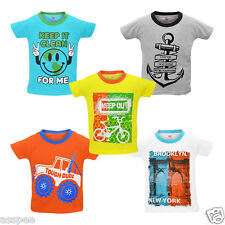 Orange and Orchid Boys Casual Printed Cotton Half Sleeves T-Shirt - Pack of 5