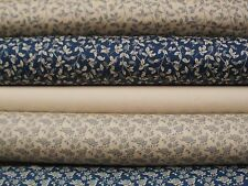 vintage style flower, blue & cream,100% cotton fabric.beautifully detailed.