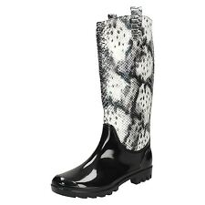 Ladies Spot On Snake Print Effect Wellington Boots