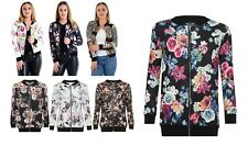 Women Plus Size Full Sleeve Zip Floral Leaves Print Ladies Bomber Jacket Top