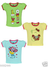 Tickling Baby Girls Casual Printed Cotton  Sleeveless T-Shirt - Pack of 3
