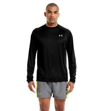 Under Armour HG Flyweight Uomo Nero Manica Lunga Girocollo Corsa Top