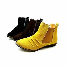 Ladies faux suede gusset side low heel ankle boots