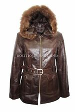 New Ladies Brown Classic Mid-Length Fur Hood Real Glaze Hide Leather Jacket Coat