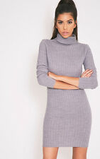 PrettyLittleThing Womens Jumper Ladies Bianca Grey Ribbed Roll Neck Top
