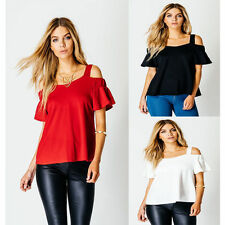 NEW LADIES STRAP BARDOT FRILL SHORT SLEEVE SWING WOMENS OFF SHOULDER LOOK TOPS