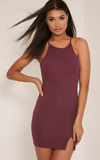 PrettyLittleThing Womens Bodycon Dress Aniqah Aubergine High Neck Summer