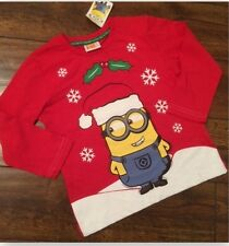new boys ex uk store christmas minion long sleeve top age 3-4 4-5 5-6 6-7 years